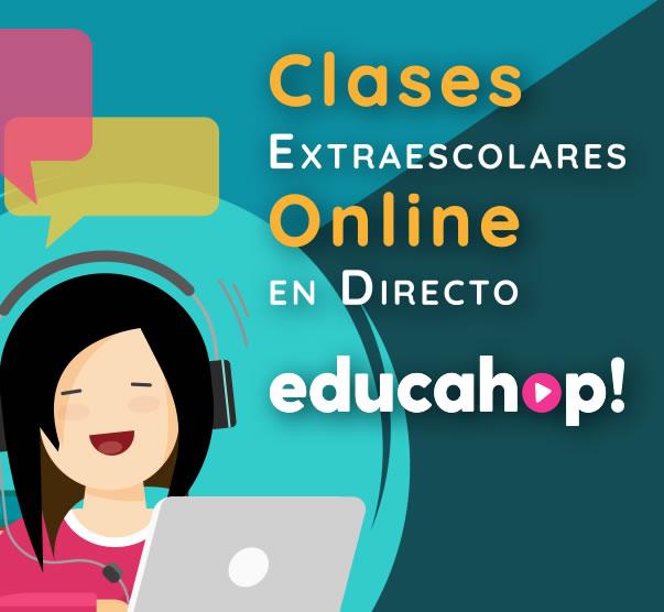 Logo de educahop.com. Clases Extraescolares Online en Directo