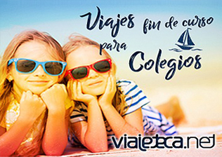 Logo de Viajeteca.net y dos niñas en la playa