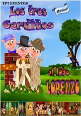Animaciones y Espectáculos-Los tres cerditos y el lobo Lorenzo